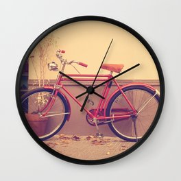 Vintage and Retro Pink Bicycle on the Street Wall Clock