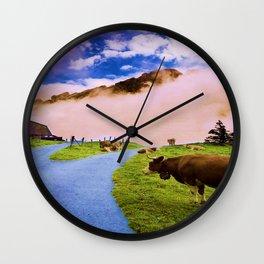 Mountain cow Wall Clock