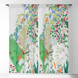 Painterly Floral Jungle on Pink and White Blackout Curtain