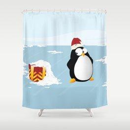 Suspicious penguin Shower Curtain