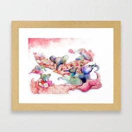 Elephants, Pillows & Blankets Framed Art Print