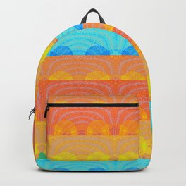 Vintage Sunset Stamp Print Glow Pattern Backpack