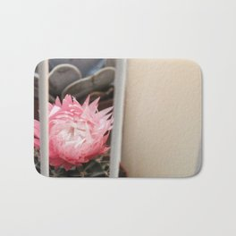 Cactus with Pink Flower in Birdcage Bath Mat