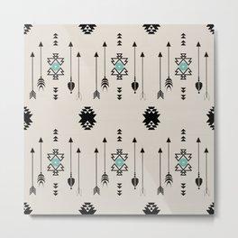 Tribal Native Arrows And Turquoise Symbols Minimal Design  Metal Print