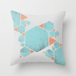 Geometric Hexagons and Triangles Throw Pillow