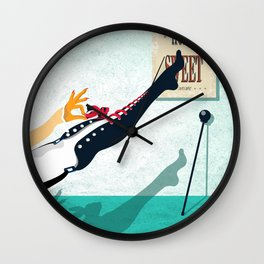 Woman with red ribbon Wall Clock