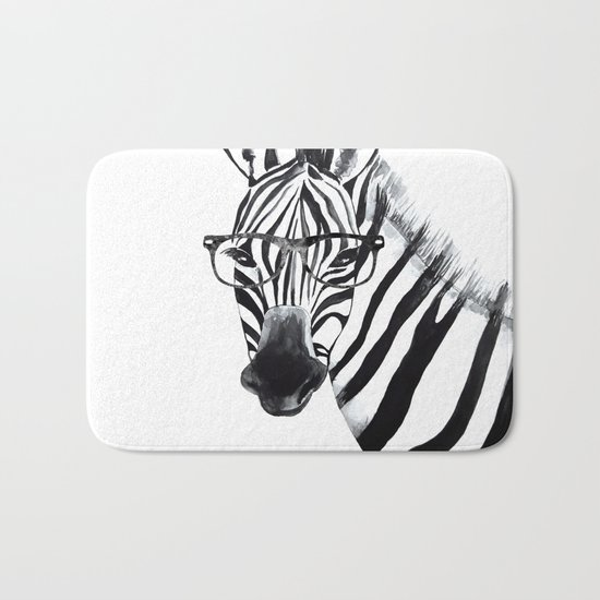 Zebra with glasses, black and white Bath Mat