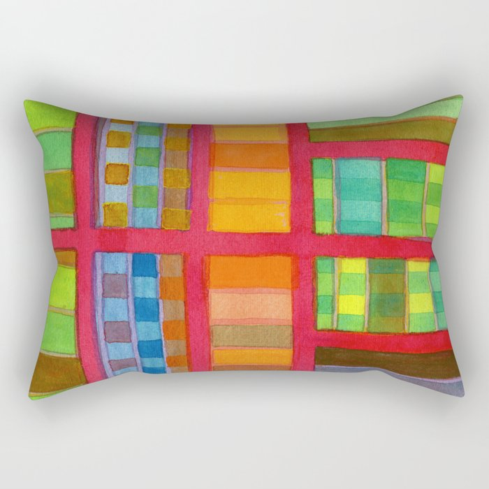 Red Grid with Checks Pattern and vertical Stripes Rectangular Pillow