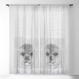 Baby Seal - Black & White Sheer Curtain