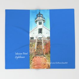 Mission Point Lighthouse Throw Blanket