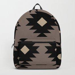 Southwestern Pattern 523 Black and Beige Backpack