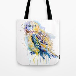 Short Eared Owl Watercolor painting Tote Bag