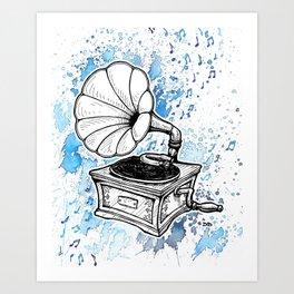 Vintage Record Player (Splash Music) Art Print