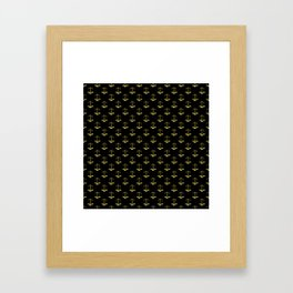 Gold Scales Of Justice on Black Repeat Pattern Framed Art Print