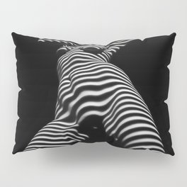 7068s-KMA Black White Nude Abstract Woman on Her Knees Zebra Styriped Pillow Sham