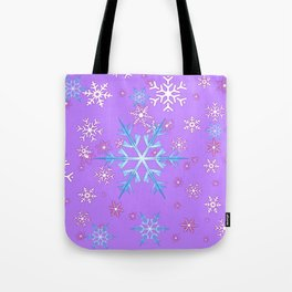 LILAC PURPLE WINTER SNOWFLAKES Tote Bag
