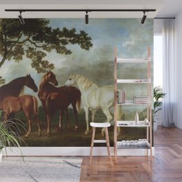 Classical Masterpiece Circa 1762 Mares and Foals in a River Landscape by George Stubbs Wall Mural