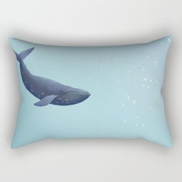 Blue Whale Illustration Underwater Scene Sealife Sea Ocean Rectangular Pillow