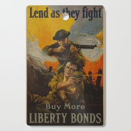 Vintage poster - Lend as They Fight Cutting Board