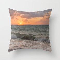 Thyrrenian Sea at sunset Throw Pillow