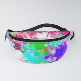 palm leaf with colorful painting abstract background in pink blue green purple Fanny Pack