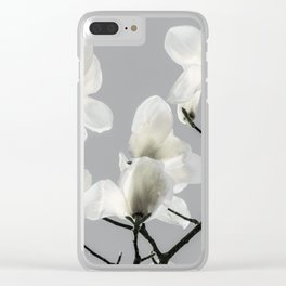 Gray Magnolia and White Clear iPhone Case