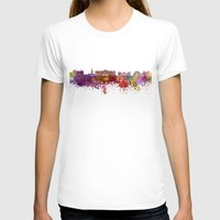 oslo T-shirts featuring Oslo skyline in watercolor background by Paulrommer