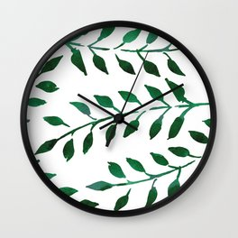 Green Watercolor Fronds Wall Clock