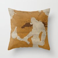 borderlands Throw Pillows featuring Borderlands 2 - Salt the Wound by Art of Peach