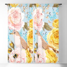 Birds & Bees Pink Yellow Floral Kingdom Sumptuous Fantasy Flower Pattern Blackout Curtain