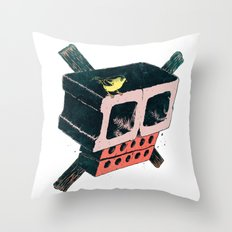 Brick Crossbones and a Bird Throw Pillow