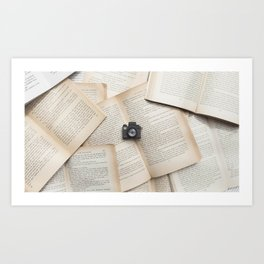 Books & Tiny Tiny Camera Art Print