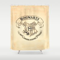 "hogwarts Shower Curtains featuring HOGWARTS by ""CVogiatzi."