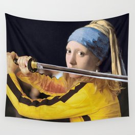 "Vermeer's ""Girl with a Pearl Earring"" & Kill Bill Wall Tapestry"