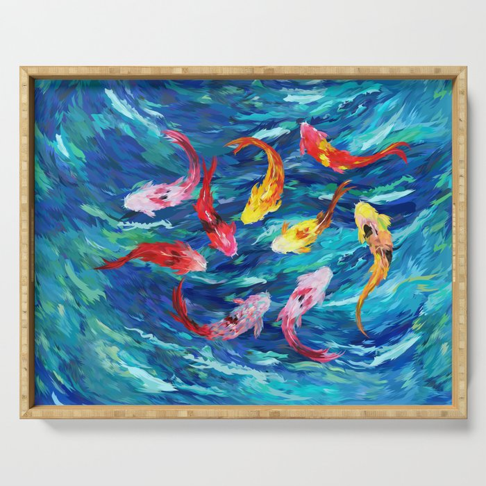Koi fish rainbow abstract paintings Serving Tray