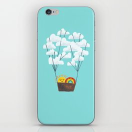 Hot cloud balloon - sun and rainbow iPhone Skin
