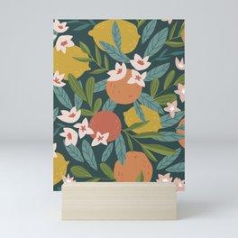 Lemon Orange Citrus Blossoms Floral Seamless Pattern Mini Art Print