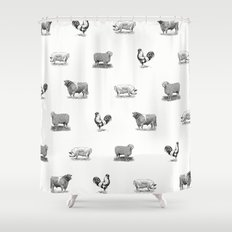 Farm Animals Black & White Shower Curtain