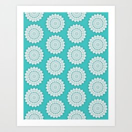 MINIMALIST MANDALA COLLAGE II (AQUA, BLUE, LIGHT, SKY) Art Print