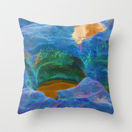 Abstract beautiful rock pools in the late afternoon Throw Pillow