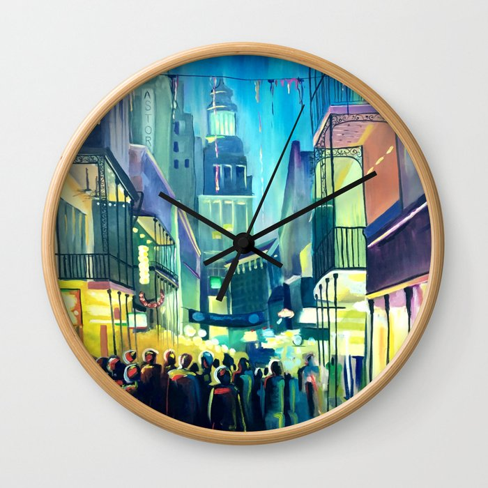 Bourbon Street at Dusk Wall Clock