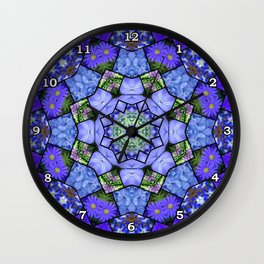 Garden mosaic kaleidoscope mandala - cool blues 2 Wall Clock