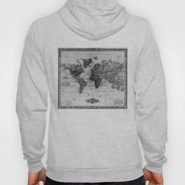 Vintage Map of The World (1833) White & Black Hoody