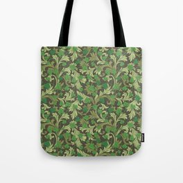 Green ivy with ornament on dark brown background Tote Bag