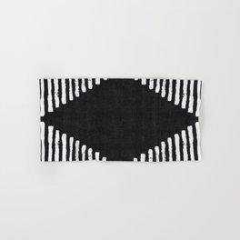 Diamond Stripe Geometric Block Print in Black and White Hand & Bath Towel