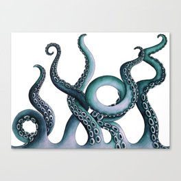 Kraken Teal Canvas Print