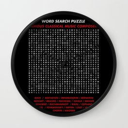 """Word search puzzle """"Famous Classical Music Composer"""" Wall Clock"""