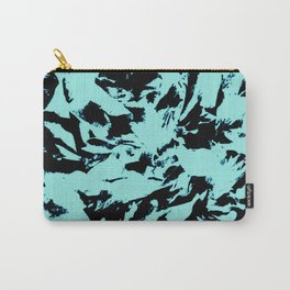 Turquoise Black Abstract Military Camouflage Carry-All Pouch