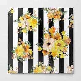 Yellow Vintage Floral on Black Stripes Metal Print