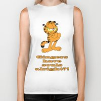 garfield Biker Tanks featuring Garfield gingers have souls by Création Numérique du Rocher